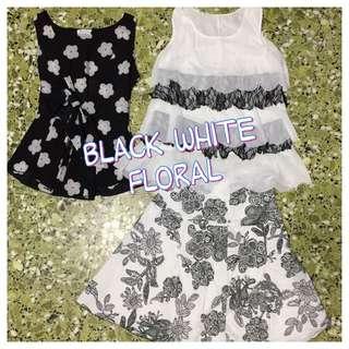 Black White Floral Top & Skirt