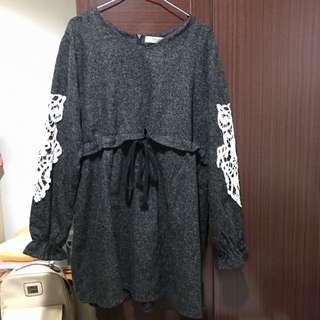 二手九成新中大尺碼2L長袖腰身設計顯瘦洋裝