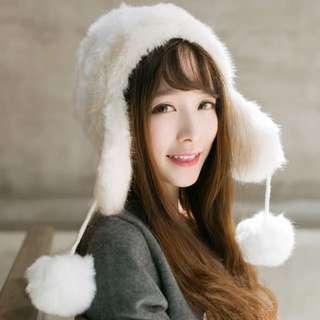 冬季加絨加厚可愛毛球帽帽
