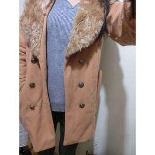 駝色V領毛外套