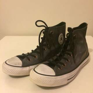 Converse Grey Leather High Top (US 6)