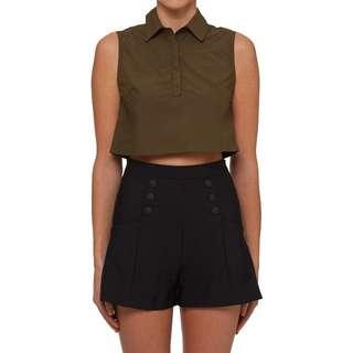 KOOKAI Crop shirt in Green Army size 34 (1)