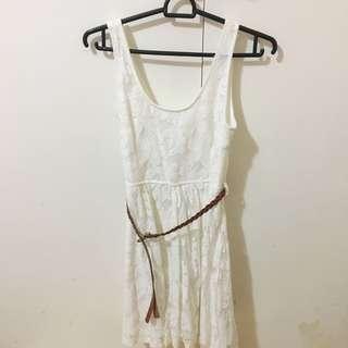 Korea Brand White Flower Dress