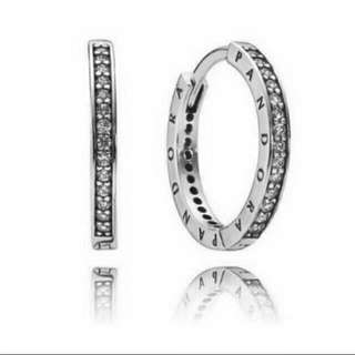 PANDORA PAVE HOOP EARRINGS