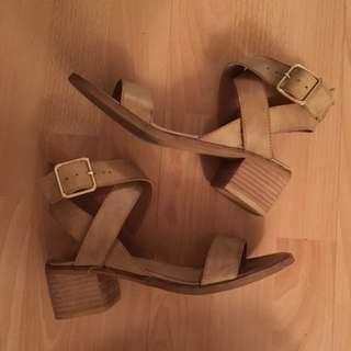 Sportsgirl Beige Block Heel Sandals