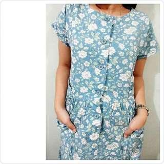 blue in white dress