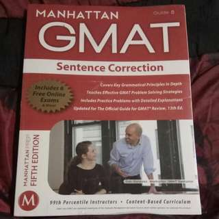 NEW Manhattan GMAT Sentence Correction Guide 8(5th Ed) & Access To 6 Online ManhattenPrep Practice Exams (CATs)