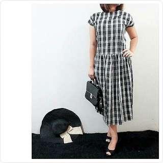 black white square dress