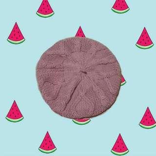 粉紅 針織 畫家帽 NET