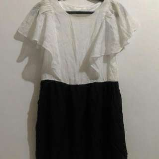 Korean White & Navy Blue Dress