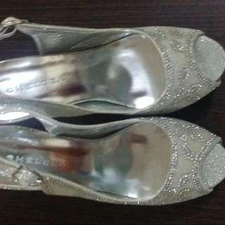 Repriced: Chelsea Silver Slingback Peeptoe Wedding Shoes