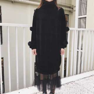 毛球連衣裙+網紗半身裙