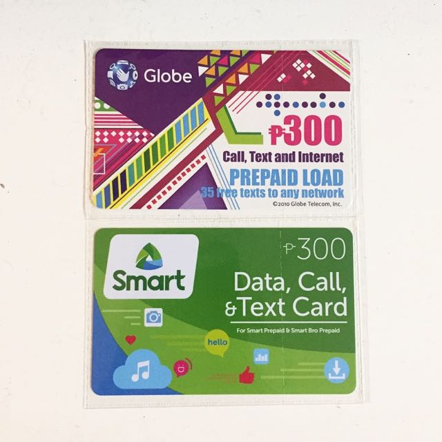 ₱300 Globe and Smart prepaid load cards