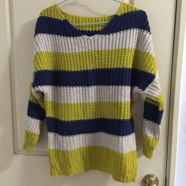 (二手)條紋毛衣