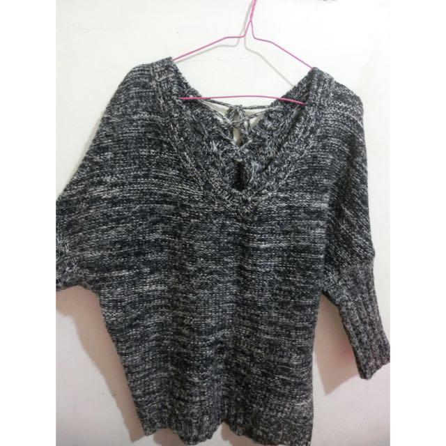 混色針織毛衣/平口毛衣/斜肩毛衣