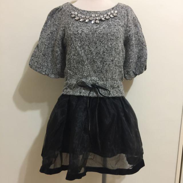 拼接紗裙洋裝