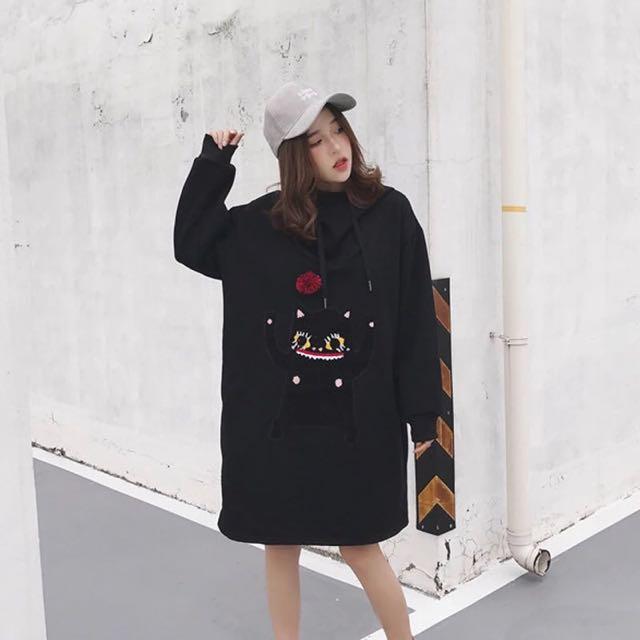 毛球帽寬鬆衣裙