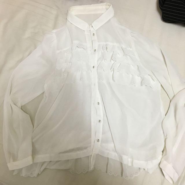 白色蕾絲襯衫