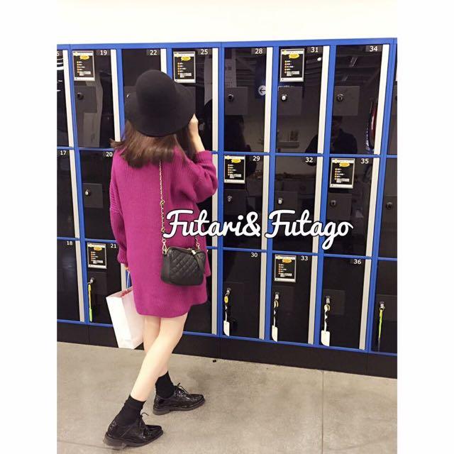 🔺韓貨🔻轉🅕🅤🅣🅐🅡🅘長版粗針織桃紅洋裝 上衣