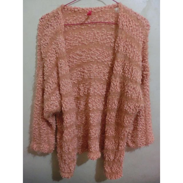 毛衣外套 粉橘