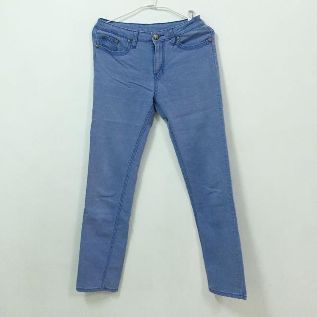 古著 淡藍直筒長褲