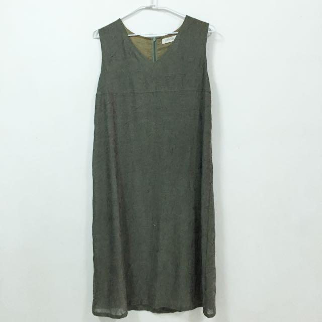 古著 墨綠色背心長裙