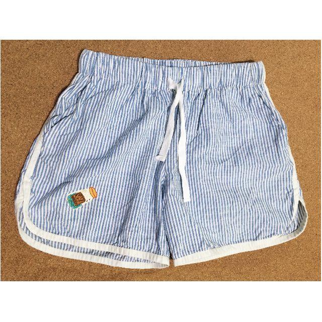 運動居家風 可愛插畫刺繡 藍白條紋小熱褲