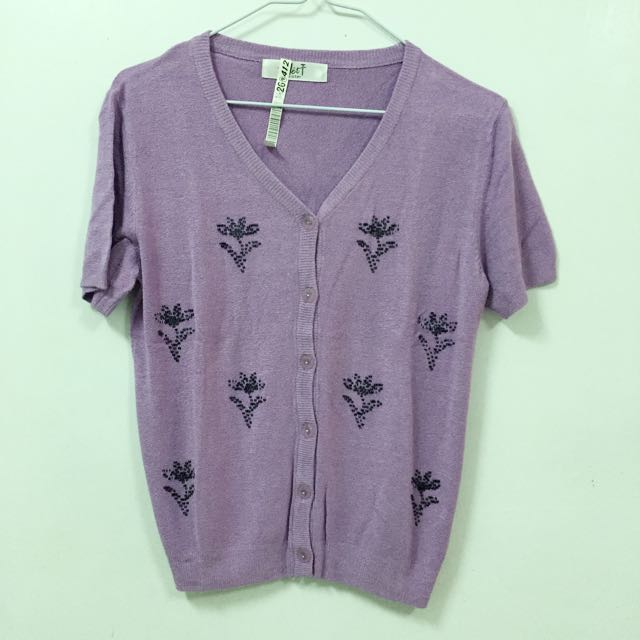 古著 紫色短毛外套 吊牌未剪