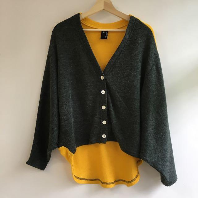 *港牌時尚* 拼色 撞色 黃、灰色針織外套 90%new