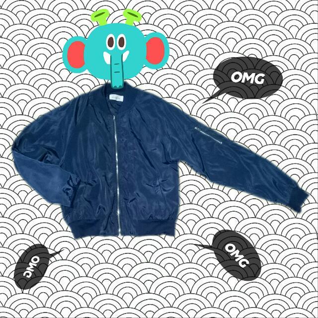 深藍 短版 薄 飛行外套