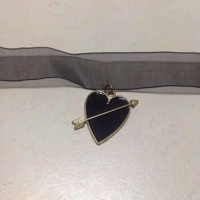 愛心 蕾絲 透明 紗 頸鍊