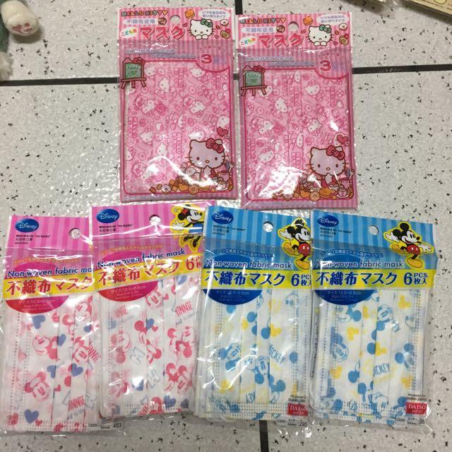 日本帶回 迪士尼三麗鷗小.大童口罩 米奇 米妮 Kitty