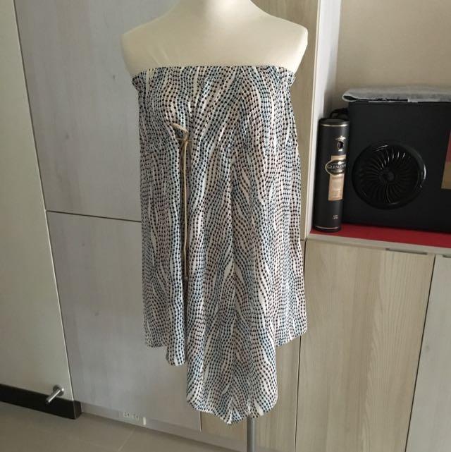 日系 專櫃正品 OZOC 普普風 不規則下擺上衣洋裝長裙