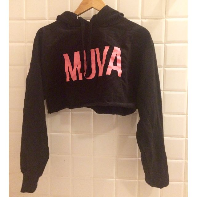 AMBER ROSE MUVA black midriff jumper hoodie
