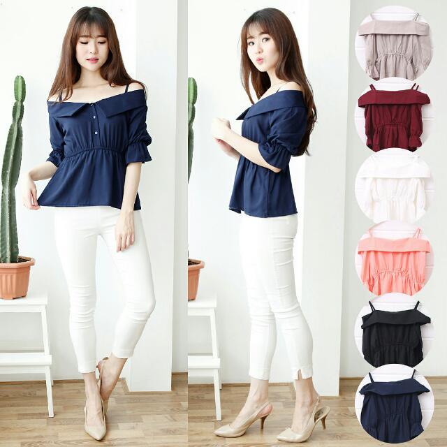 Baju Atasan Wanita Murah/Atasan Korea Import - Sabrina Ribbon