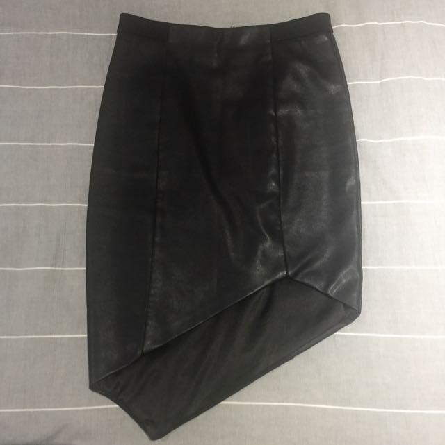 Bardot Asymmetrical Leather Skirt