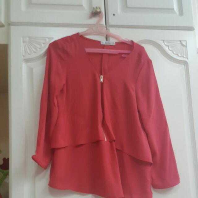 Bershka Long Sleeves Red Orange