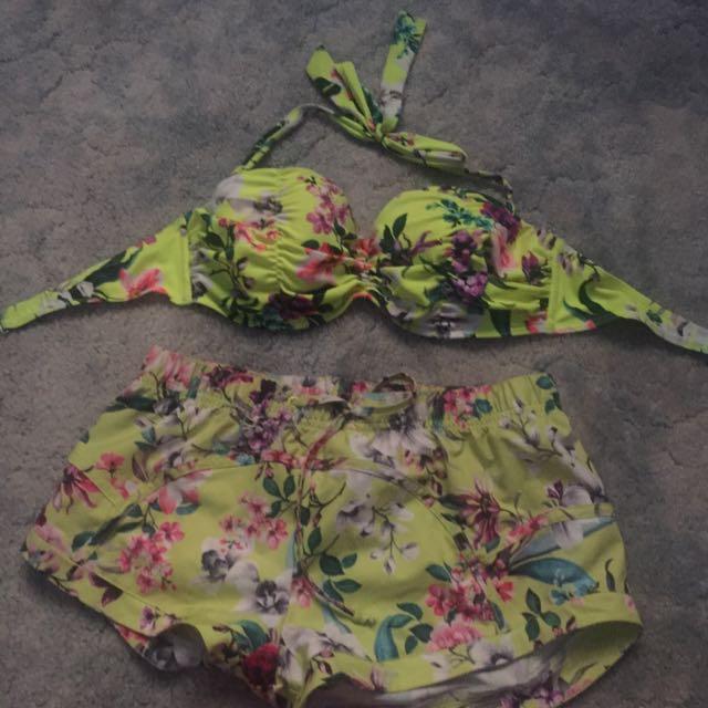 Billabong Halter Bikini Top And Shorts