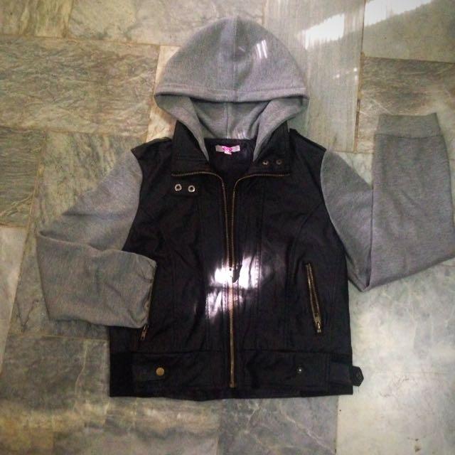 Black Leather Cotton Grey Cropped Biker Hoodie Jacket