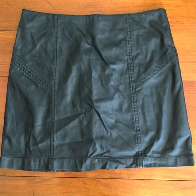 Black Leather Look Skirt Size 8