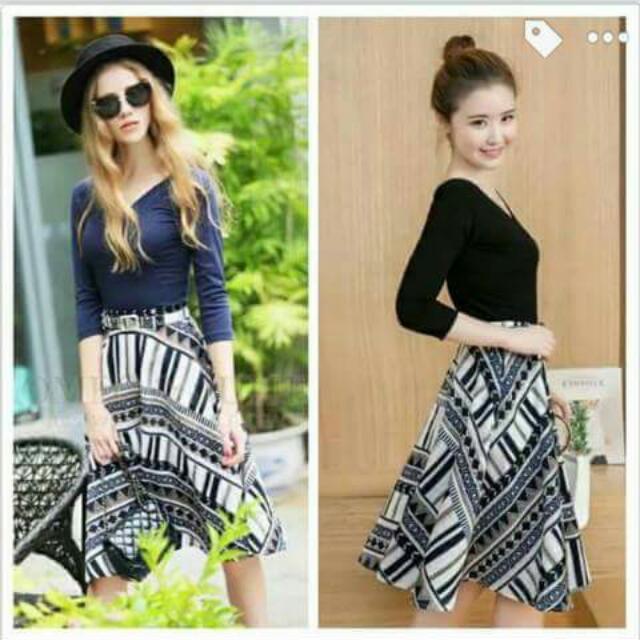 Black V-Neck Blouse Style And Skirt (With Belt)