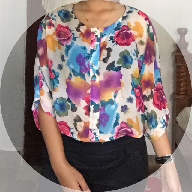 Blouse Batwing Flower