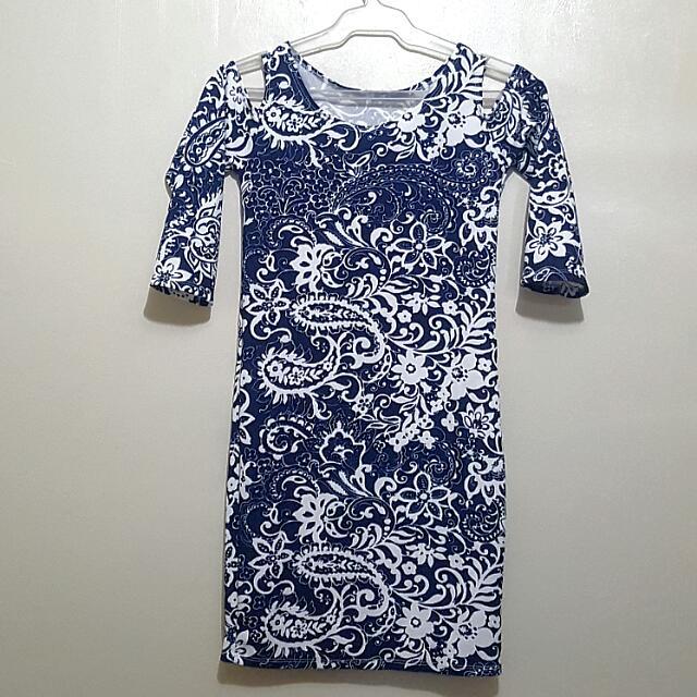 Blue Shoulder-Slit Dress