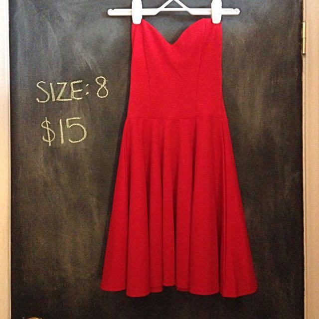 Boohoo Red Strapless Skater Dress