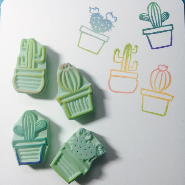 Cactus Rubber Stamp Design Craft Supplies Tools On Carousell