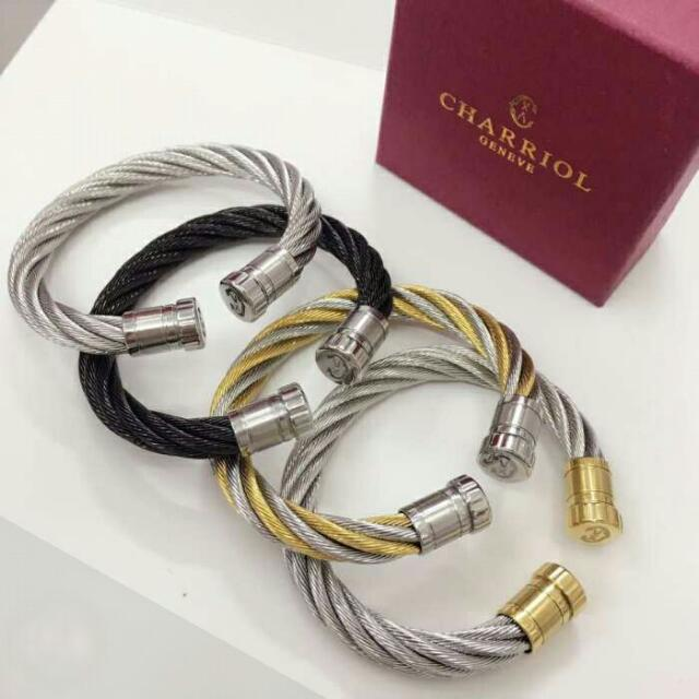 jewelry gold white bangles nautical grey cable bangle stainless and steel yellow lyst modern product charriol mix multi diamond
