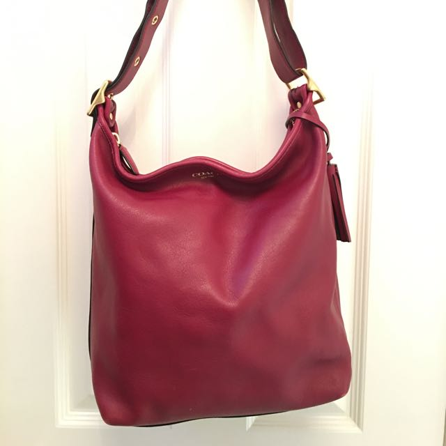 Coach Classic Leather Magenta Bag