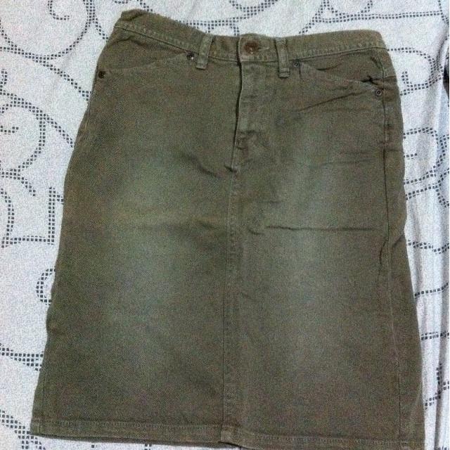 Denim moss green skirt