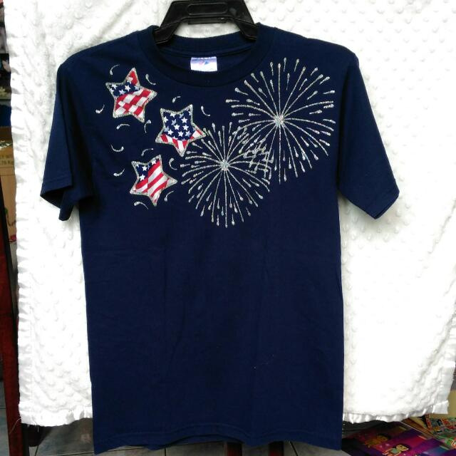 Free Shipping! Blue Shirt With Fireworks Design