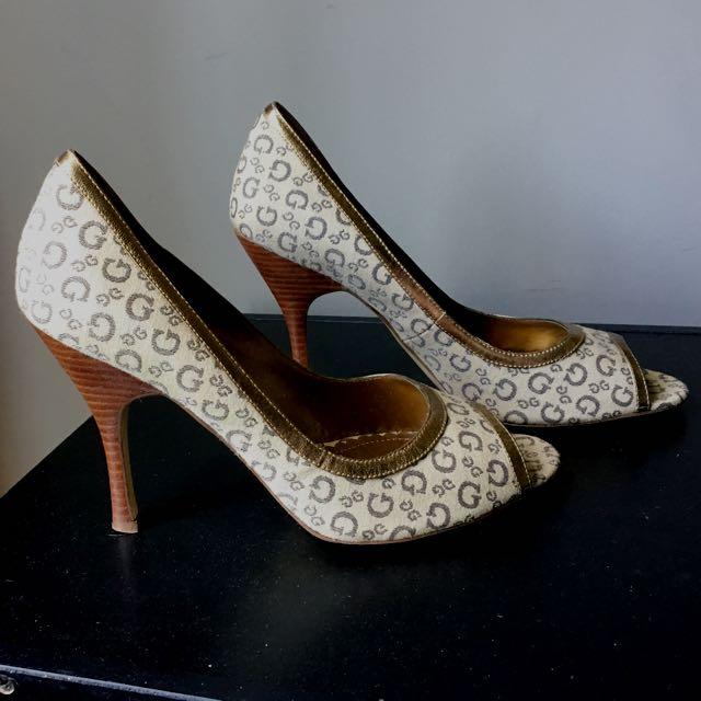 Guess Gold Peep Toe Heels - Size 9